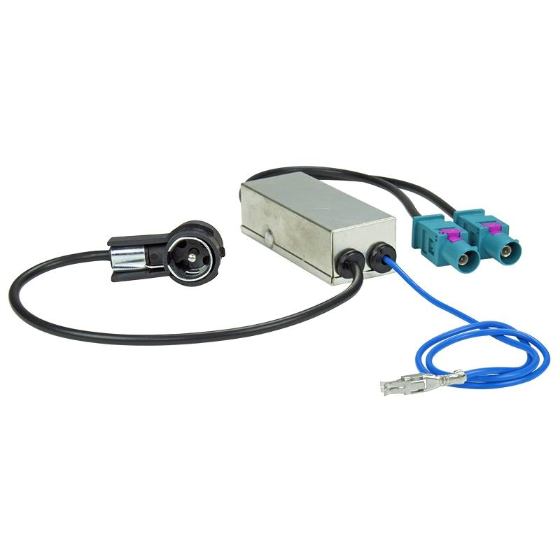 Antennenadapter Phantomeinspeisung Audi, BMW, VW Diversity 2xFakra (M) auf ISO 50 OHM