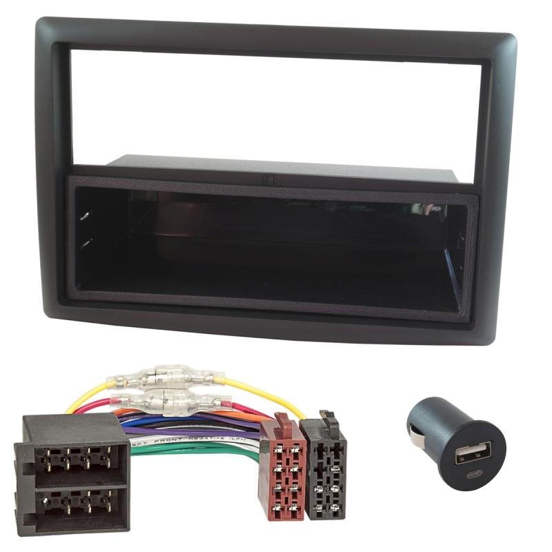 Radioblende (Set+USB-Lader) Renault Megane II, Scenic II 2005-2009, schwarz
