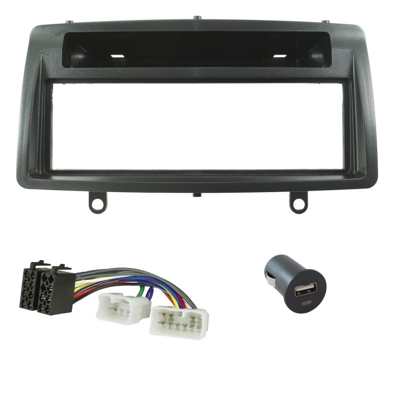 Radioblende (Set+USB-Lader) Toyota Corolla E120 / E12 2002-2007, schwarz