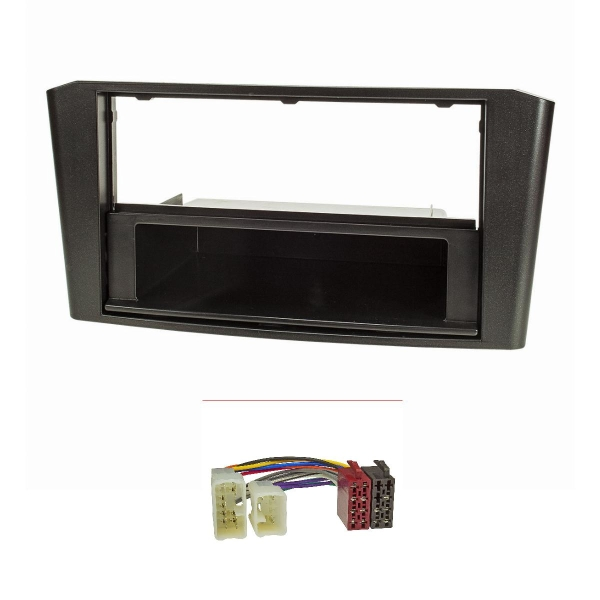 Radioblende Set kompatibel mit Toyota Avensis T25 Bj.2003-2009 schwarz mit Radioadapter ISO