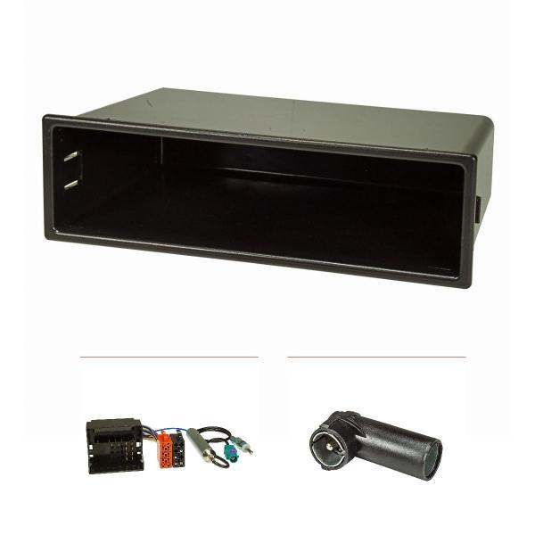 Radioblende Set kompatibel mit Citroen C2 C3 Peugeot 207 307 Expert mit Quadlockadapter ISO Fakra Antennenadapter Phantomeinspeisung DIN ISO