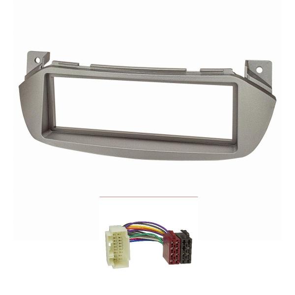 Radioblende Set kompatibel mit Suzuki Alto Bj.2009-2016 Nissan Pixo Bj.2009-2013 silbermetallic mit Radioadapter ISO