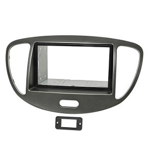 Doppel DIN Radioblenden Set kompatibel mit Hyundai i10 2008-2013 dunkelsilber mit Einbaukit