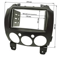 Doppel DIN Radioblende kompatibel mit Mazda 2 Typ DE ab 2007-2014 schwarz