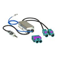 Radioblende Set kompatibel mit Audi A1 8X 8XA ab Bj.2010 schwarz mit 52 Pin Power Quadlockadapter ISO Doppel Fakra Diversity Antennenadapter Phantomeinspeisung DIN ISO