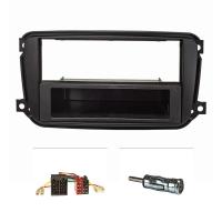 Radioblende Set kompatibel mit Smart fortwo (451) Facelift ab Bj.10/2010 schwarz mit Radioadapter ISO Antennenadapter ISO DIN