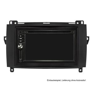 Doppel DIN Radioblende Set kompatibel mit Mercedes A W169 B W245 Sprinter W906 Vito Viano W639 VW Crafter schwarz mit Einbaukit