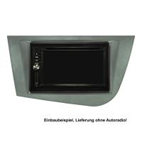 Doppel DIN Radioblende Set kompatibel mit Seat Leon 2 (1P) Bj.2005-2012 graumetallic mit Einbaukit
