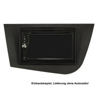 Doppel DIN Radioblende Set kompatibel mit Seat Leon 2 (1P) Bj.2005-2012 schwarz mit Einbaukit