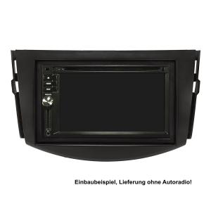 Doppel DIN Radioblende Set kompatibel mit Toyota RAV4 CA30W Bj.2006-2013 schwarz mit Einbaukit