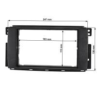 Doppel DIN Radioblende kompatibel mit Smart Fortwo 451 ForFour 454 schwarz