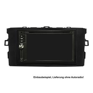 Doppel DIN Radioblende Set kompatibel mit Toyota Auris E150 Bj.2007-2012 schwarz mit Einbaukit