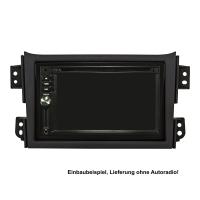 Doppel DIN Radioblende Set kompatibel mit Opel Agila B Suzuki Splash schwarz mit Einbaukit