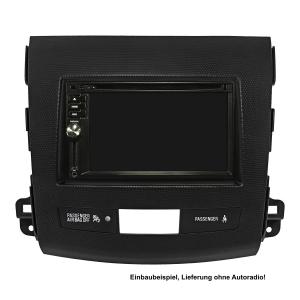 Doppel DIN Radioblende kompatibel mit Citroen Crosser Peugeot 4007 Mitsubishi Outlander schwarz