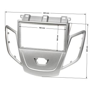 Doppel DIN Radioblende kompatibel mit Ford Fiesta JA8 ab 2009-2017 hellsilber ohne Multifunktionsdisplay