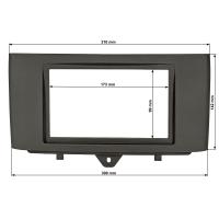 Doppel DIN Radioblende kompatibel mit Smart fortwo 451 Facelift ab 2010-2015 schwarz