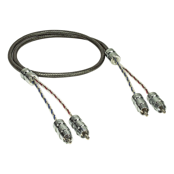 SIGNAT Cinch Kabel High End Twisted Pair verchromte Stecker 2-Kanal 1m, Blister
