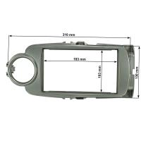 Doppel DIN Radioblende kompatibel mit Toyota Yaris XP13 ab 2011-2017 silber
