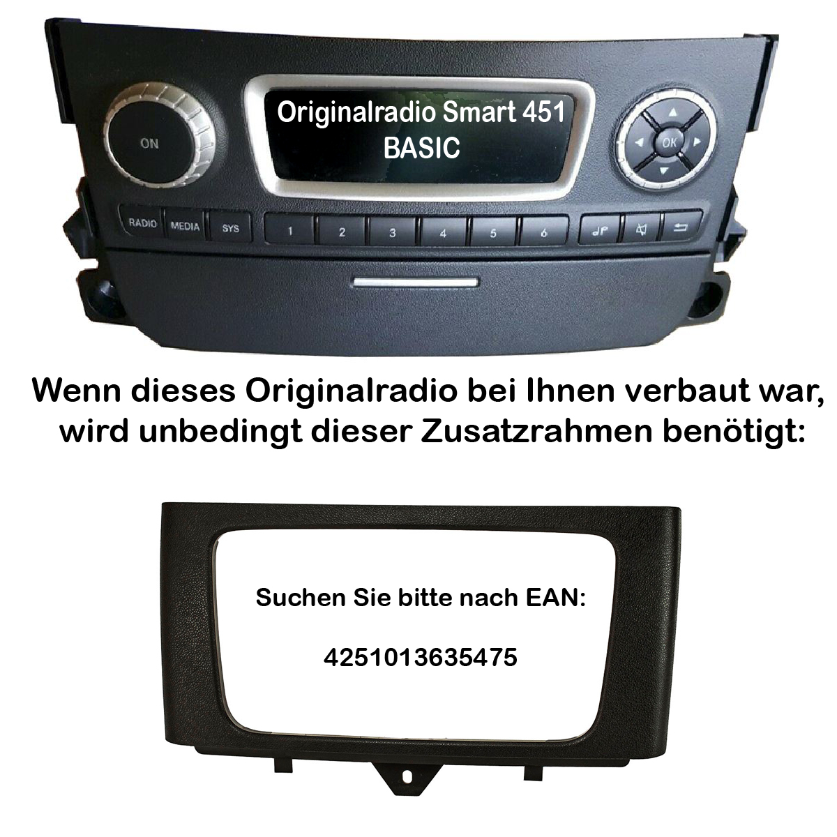 Doppel 2 DIN SET Autoradio Blende Smart ForTwo ab 2010 Radio Blende Halterung