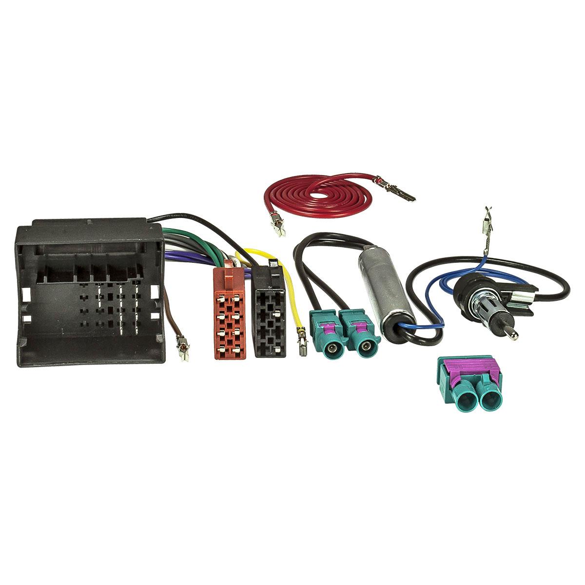 2-DIN Radioblende piano black Quadlock Adapter Antenne VW Touran Sharan Tiguan
