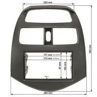 Doppel DIN Radioblende kompatibel mit Chevrolet Spark 2010-2012 Daewoo Matiz Creative schwarz