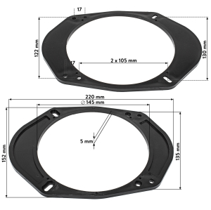 Lautsprecherringe Adapter Halterungen kompatibel mit Ford...