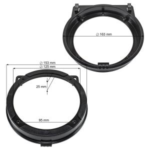 Lautsprecherringe Adapter Halterungen kompatibel mit Honda Civic Jazz CR-Z für 130mm DIN Lautsprecher