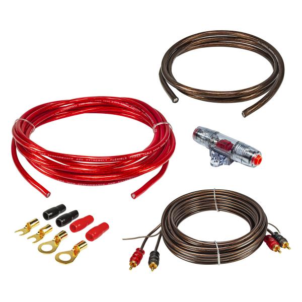 10qmm Verstärker Endstufen Amplifier Anschluss Set inkl. Sicherungshalter Cinchkabel Kabelschuhe und Sicherung CCA