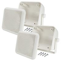 Aufbau Lautsprecher Gehäuse Set für 100x100 mm DIN Lautsprecher weiss Retro KFZ Boot LKW Baumaschinen