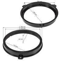 Lautsprecherringe Adapter Halterungen kompatibel mit Fiat Panda 2003-2012 Tür hinten für 165mm DIN Lautsprecher