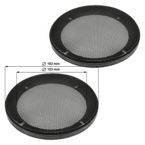Lautsprecher Gitter Grill für 130mm DIN Lautsprecher schwarz 2-teilig Kunststoffring mit Metallgitter Satz