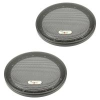 Excalibur Lautsprecher Gitter Grill für 165mm DIN Lautsprecher schwarz 2-teilig Kunststoffring mit Metallgitter Satz