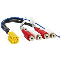 Line-Out Adapter kompatibel mit Becker Blaupunkt Grundig Mini-ISO gelb 6-pol. 4-Kanal