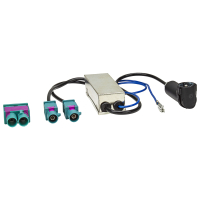 Doppel Fakra Diversity Antennenadapter mit Phantomeinspeisung kompatibel mit Audi Seat Skoda VW Citroen Peugeot Opel auf DIN oder ISO