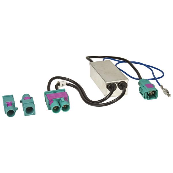 Doppel Fakra Diversity Antennenadapter mit Phantomeinspeisung kompatibel mit Audi Seat Skoda VW Citroen Peugeot Opel auf Fakra Radio