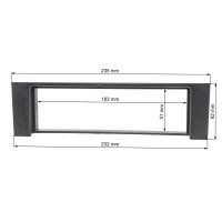 Radioblende Set kompatibel mit Audi A4 B6 8E 8H schwarz mit Radioadapter ISO Antennenadapter Phantomeinspeisung DIN ISO