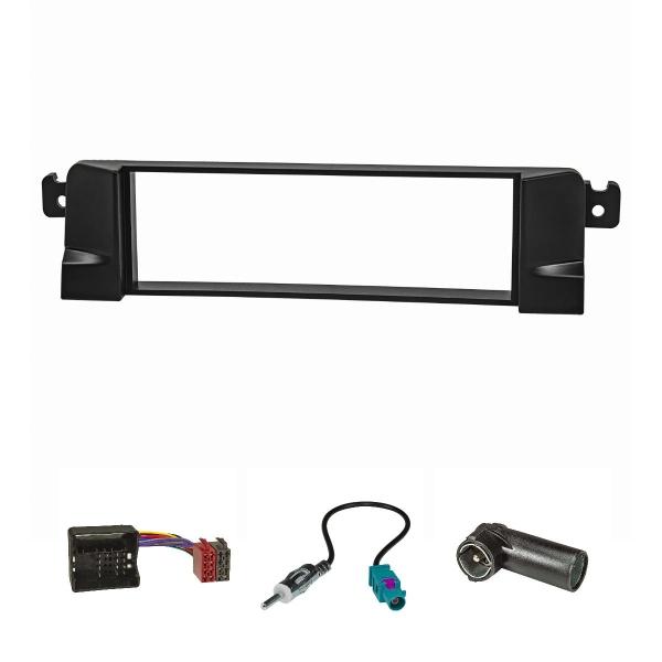 Radioblende Set HQ-Optik Profi-Version kompatibel mit BMW 3er E46 schwarz mit Quadlockadapter ISO Fakra Antennenadapter DIN ISO