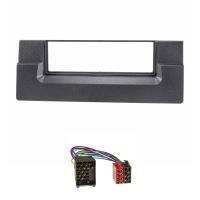 Radioblende Set kompatibel mit BMW 5er E39 X5 E53 schwarz mit Radioadapter Rundpin ISO