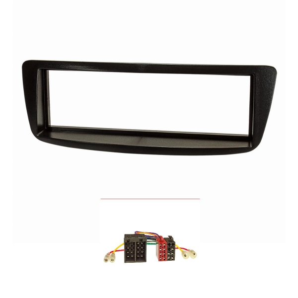 Radioblende Set kompatibel mit Citroen C1 Peugeot 107 schwarz mit Radioadapter ISO