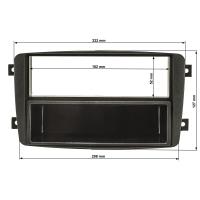 Radioblende kompatibel mit Mercedes C-Klasse W203 S203 CL203 CLK C209 A209 Viano Vito schwarz