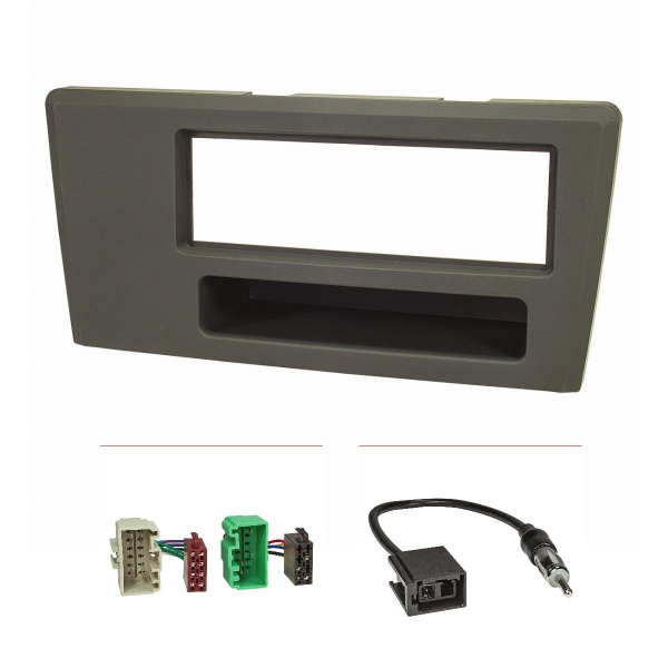 Radioblende Set kompatibel mit Volvo S60 S70 C70 V70 dunkelgrau mit Radioadapter ISO GT5 Antennenadapter DIN