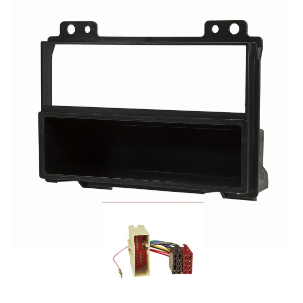 Radioblende Set kompatibel mit Ford Fiesta JH1/JD3 Ford Fusion JU2 vor Facelift schwarz mit Radioadapter ISO