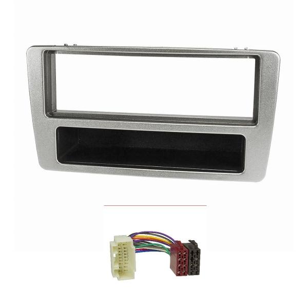 Radioblende Set kompatibel mit Honda Civic Bj.2001-2006 manuelle Klimaanlage silber mit Radioadapter ISO