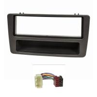Radioblende Set kompatibel mit Honda Civic Bj.2001-2006 manuelle Klimaanlage anthrazit mit Radioadapter ISO