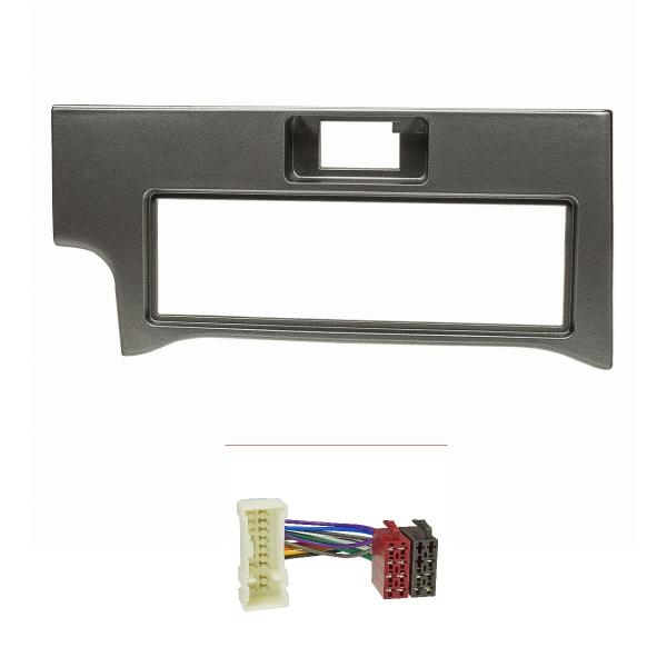 Radioblende Set kompatibel mit Nissan Primera P11 dunkel grau mit Radioadapter ISO