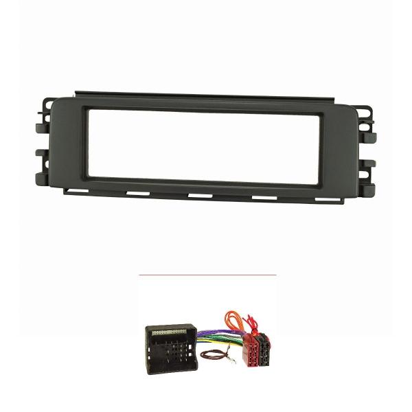 Radioblende Set kompatibel mit Smart forfour 454 anthrazit / schwarz mit Quadlockadapter ISO