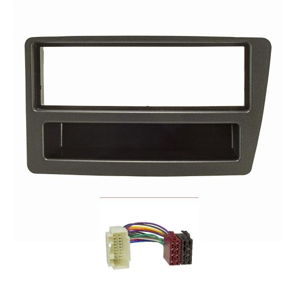 Radioblende Set kompatibel mit Honda Civic Bj.2001-2006 automatische Klimaanlage anthrazit mit Radioadapter ISO