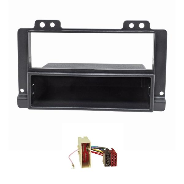 Radioblende Set kompatibel mit Landrover Freelander schwarz mit Radioadapter ISO