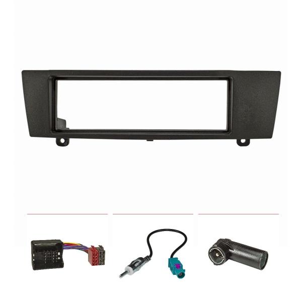 Radioblende Set kompatibel mit BMW 1er E87 3er E90 Z4 E89 schwarz mit Quadlockadapter ISO, Fakra Antennenadapter DIN ISO