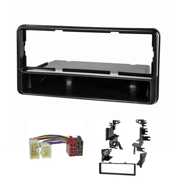 Radioblende Set kompatibel mit Toyota RAV4 Facelift Celica MR2 Spyder schwarz mit Radioadaper ISO